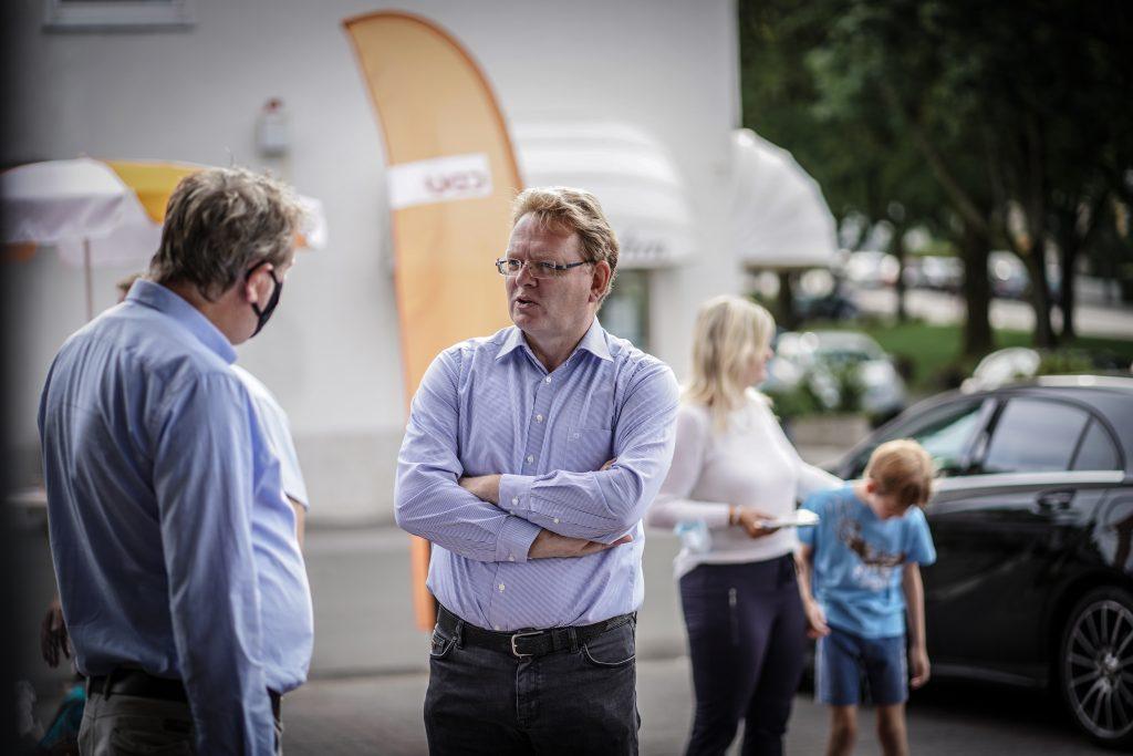 Andreas Hollstein während des Wahlkampfs 2020 in Dortmund. In der sogenannten Herzkammer der Sozialdemokratie erreichte Hollstein die Stichwahl und unterlag dort knapp. Foto: Paul Schneider